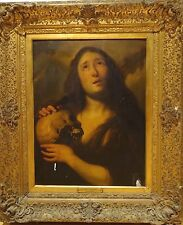 Large 17th Century Dutch Old Master Penitent Magdalene Skull Antique Painting