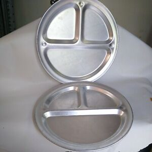"""2 Vintage Aluminum Camping Divided Plates 3 Section Mess Plates 12"""""""