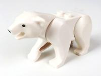 Lego White Polar Bear with 2 Studs on Back, Black Eyes Arctic Animal Minifigure