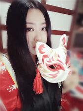 Japanese Anime Half Face Fox Mask Hand-Painted Halloween Costume Ball Mask