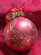 NEW FLAWLESS Exquisite WATERFORD Christmas Crystals Glitter Red BALL Ornament