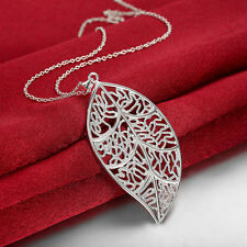 925 Silver Filled Leaf Pendant Necklace Women Fashion Jewelry Party Gift