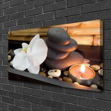 Leinwand-Bilder 100x50 Wandbild Canvas Kunstdruck Blume Steine Kerze Kunst