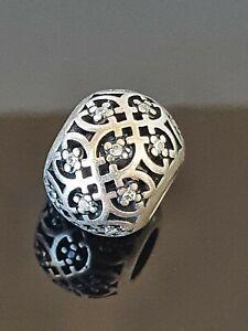 Pandora Intricate Lattice Cubic Zirconia Silver Openwork Charm 791295 Free Post