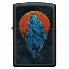 More details for zippo wolf and moon texture printed matte black windproof lighter