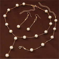Multilayer Fashion Pearl Necklace Bracelet Earrings Gold Plated Jewelry Sets GY