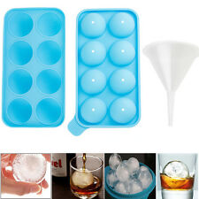Round Ice Balls Maker Tray 8 Sphere Molds Cube Whiskey Cocktails Party + Funnel