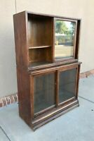 Antique Oak Sectional Danner Company Bookcase Two Sectionals High