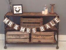 Personalised Hessian Mr & Mrs Rustic Vintage Wedding Banner Bunting Burlap