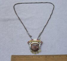 Fine VICTORIA Taxco Signed MIXED METALS FACE PENDANT NECKLACE-26 Inch-NR