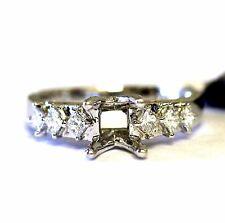Semi Mount Diamond Engagement Ring 18k White Gold Princess