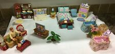 Lot of 29 Fisher Price Loving Family Dollhouse People Furniture and Accessories