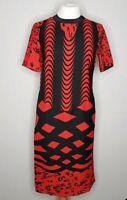 ASOS Ladies Red & Black Short Sleeve Midi Party Cocktail Dress 6 uk bold strikin