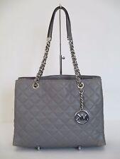 Michael Kors Susannah Quilted Grey Leather Medium Tote Handbag