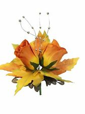 2 Orange Roses Fall Leaves CORSAGE Autumn Wedding Silk Flowers Decorations