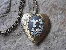 - Antique Look, Bridal, Wedding Hummingbird (Black) Cameo Bronze Heart Locket