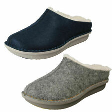 Ladies Clarks 'Step Flow Clog' Fabric Warm Lined Clog Slippers - D Fitting