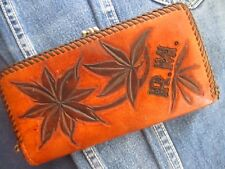 "True Vtg 70s MASSIVE 7x3.5"" HANDMADE TOOLED LEATHER SNAP COIN PURSE WALLET"