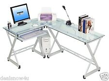Home Computer Desk And Table Office Furniture Corner Hutch L Shaped Glass Top