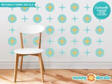 Circles and Stars Fabric Wall Decals, Set of 20 Mid Century Modern Circles & Sta