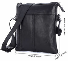 Augus Real Leather Cross Body Messenger Bags Black Satchel Shoulder Bag For Men