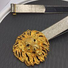Beautiful Large Vintage Gold Tone Lion Belt Buckle Belt