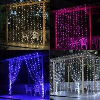 300/600 Led Hanging Curtain Fairy Light Wedding Indoor Outdoor Xmas Garden Party