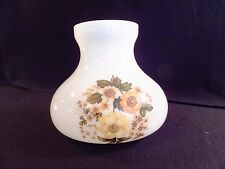 "Milk Glass Hurricane Lamp Shade 3"" Fitter Flowers Autumn Colors"