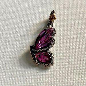 Barbara Bixby Butterfly Charm Pink Abalone Sapphire Gemstone Flower Pendant 18K