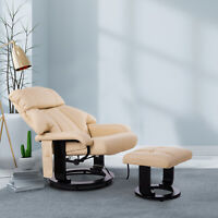 10 Motor Massage Recliner Bonded Leather Seat Swivel Wood Base Beige