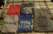5 Mens T-Shirts Bud Light Dr Pepper Hurley Whiskey Size X Large  All in EXC.Cond