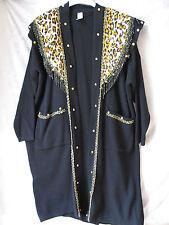 Vintage 80's Long Black Sweater Jacket Cardigan Leopard Pattern W/Beads One Size