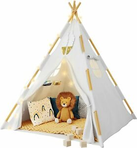 Tazztoys Kids Teepee Tent Children Indoor Play Cotton Canvas with Fairy Lights