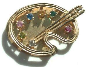 14k Gold Artist Painter Palette Multi Gemstone Charm 3.9gr Vintage Pendant