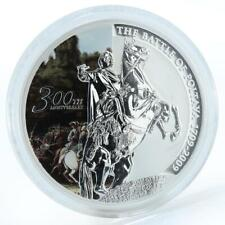 Tuvalu, 1 dollar 300 years Battle of Poltava, Peter I, silver coloured coin 2009