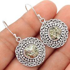 Peruvian Golden Pyrite 925 Sterling Silver Earrings Jewelry SE102485