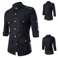 Mens Short Sleeve Shirts Smart Casual Formal Business Slim Fit Shirt Top Black