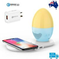 Bedside Touch Lamp With Bluetooth Speaker Wireless Qi Phone Charger Night Light