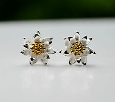 Sterling Silver 925 3D Lotus Flower with Golden Centre Stud Earrings