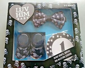 Luv Him Baby Milestones Photos Props for Baby Boy Bowtie with Edgy Skulls!