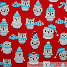 BonEful Fabric Cotton Quilt Red White Blue Gray S OWL Bird Winter Xmas Dot SCRAP