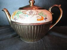 Gibson England Staffordshire Teapot Heavy Gold 5482 Leaf Design