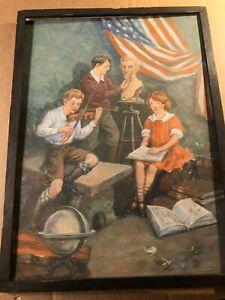 Rare Signed Antique Illustration Art Painting Schoolchildren Flag Lincoln Violin