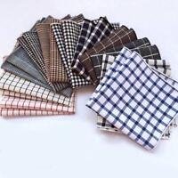 Men's Hanky Handkerchief Cotton Pocket Square Plaid Checks Striped Chest Tower