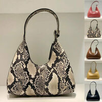 Small U Top Real Leather Snake Vintage Shoulder Bag Purse Baguette Top Handle