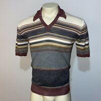 Vtg 50s 60s Sweater Shirt S/S Stretch Knit GAP Mid Century Mod Disco MENS MEDIUM