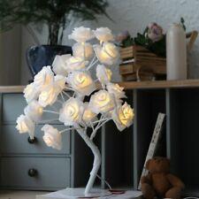 Led White Pink Rose Flower Bedside Bedroom Night Light Table Lamp Home Decor