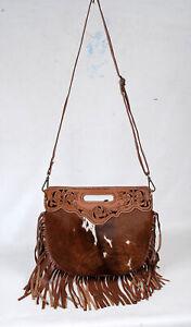 100% Cowhide leather bag with fringes, over the shoulder bag for women SA-7280