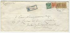 1918 Singapore Forerunner (Straits Settlements) Cover w/ Perfins to Switzerland