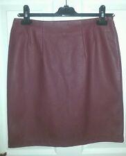 H&M BNWT Womens Maroon PVC PU SKIRT Faux Leather uk12 us8 eu38 Waist w29in w74cm
